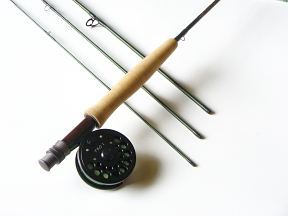 2wt  7ft 3in  4pc finesse fly rod   tfo no  i click pawl fly reel