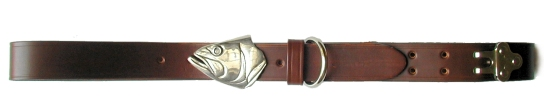 Silver Bass Head Belt Buckle on No.1 Dark Brown Colonel Belt