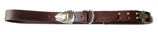 Silver Redfish Head Belt Buckle on No.1 Dark Brown Colonel Belt