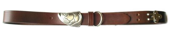 Silver Tarpon Head Belt Buckle on No.1 Dark Brown Colonel Belt
