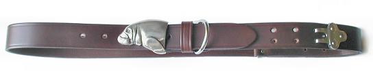 Silver Manatee Belt Buckle on No.1 Dark Brown Colonel Belt