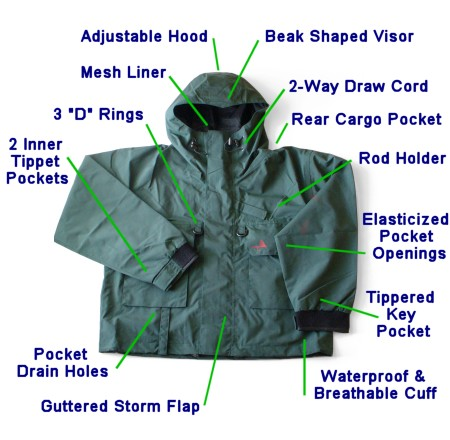 Breathable deluxe rain jacket ii by pacific fly group fly for Fly fishing rain jacket