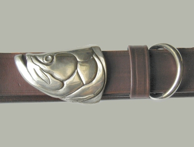 Silver Tarpon Head Belt Buckle on No.1 Dark Brown Colonel Belt