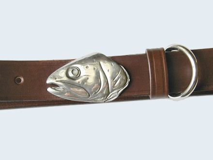 Silver Trout Head Belt Buckle on No.1 Dark Brown Colonel Belt