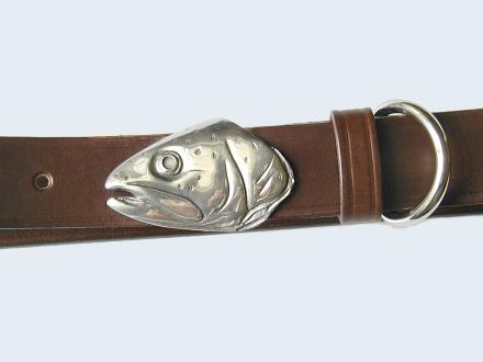 Silver Trout Head Belt Buckle on No.1 Dark Brown Colonel Belt