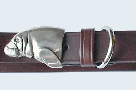 Silver Manatee Belt Buckle on No.1 Dark Brown Colonel Belt
