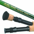 IM6 Graphite Fly Rod with Green Finish and up locking reel seat.