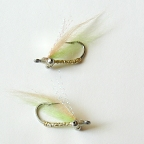 Chartreuse Polar Fiber Charlie - 2 Fly Sampler Bonefish Flies by East Cut Saltwater Flies