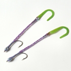 Purple/Chartreuse Twister Tail Eel - 2 Fly Sampler - Bass Flies by DL Goddard