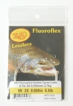 6lb. 9ft  3X Fluoroflex Trout Tapered Knotless Leader by RIO